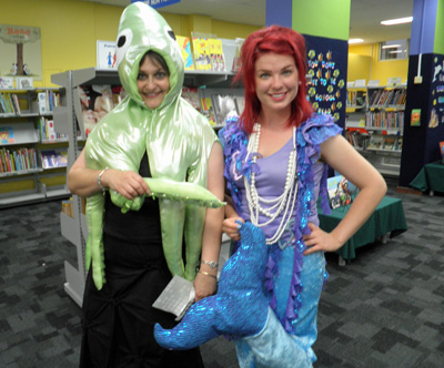 Dressed up as a squid and a mermaid