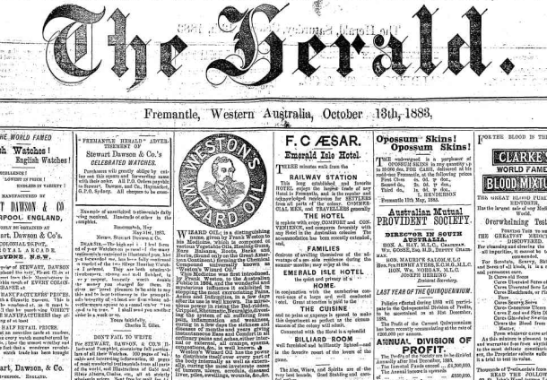 Early archives of The Herald (Fremantle, WA : 1867 - 1886) now online