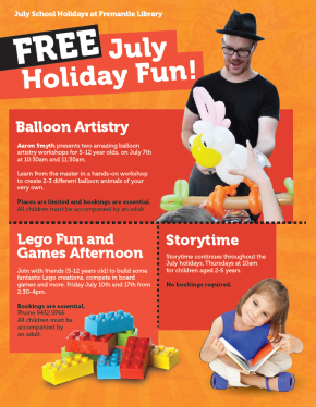 July School Holidays at Fremantle City Library
