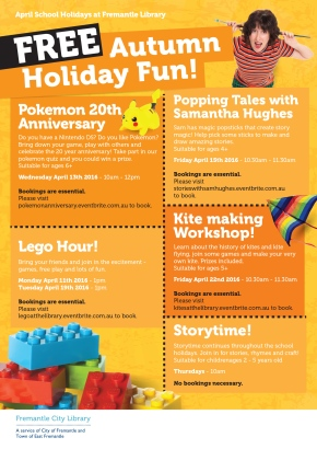 April 2016 school holiday events