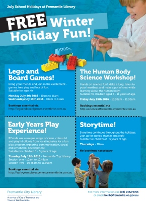 July 2016 School holidays at the library