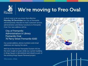 Fremantle Library is moving December 2018